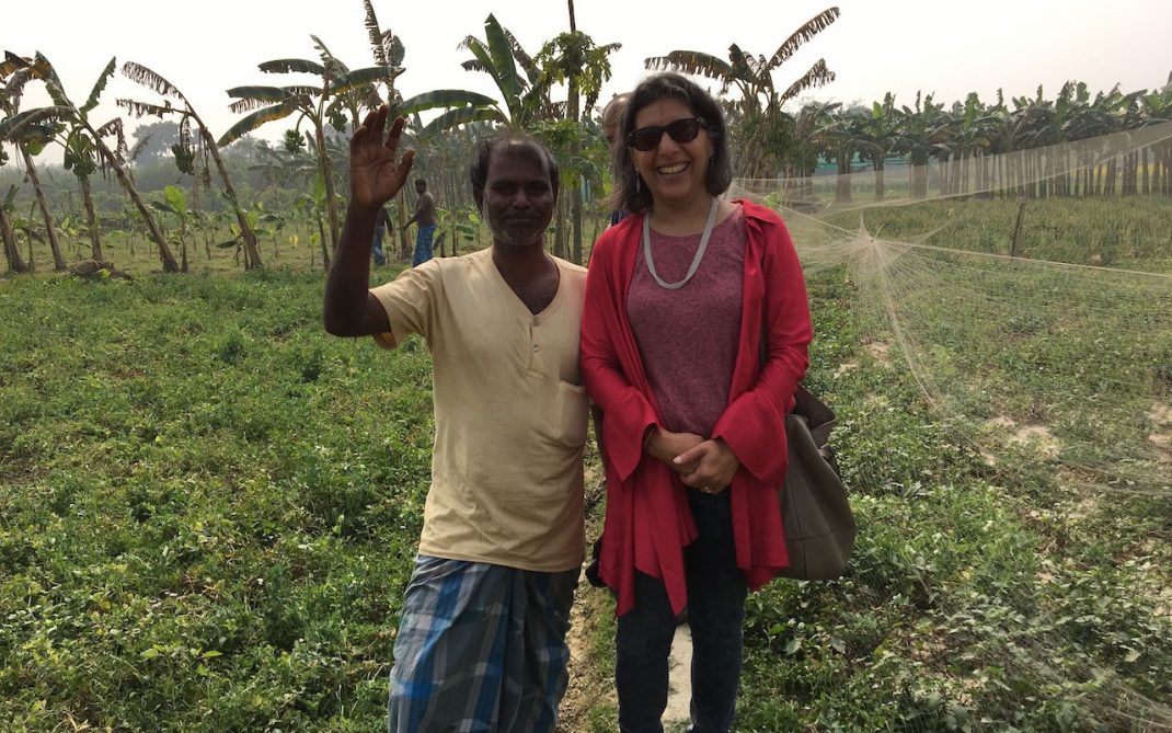 Yasmine Hilton in West Bengal with AMS farmer