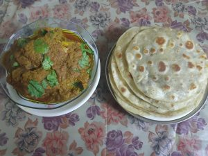 Chandrani's chicken curry and parathas recipe